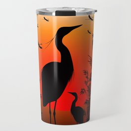 Heron Shape on Sunset Travel Mug