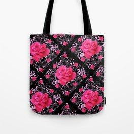 FUCHSIA PINK ROSE BLACK BROCADE GARDEN ART Tote Bag