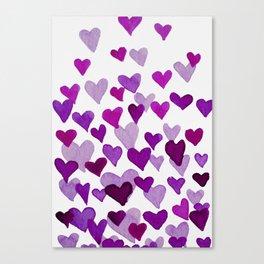 Valentine's Day Watercolor Hearts - purple Canvas Print