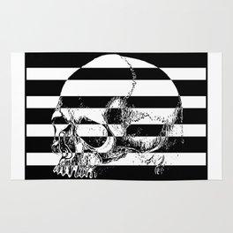 Black and white striped skull print Rug