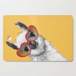 Fashion Hipster Llama with Glasses Cutting Board