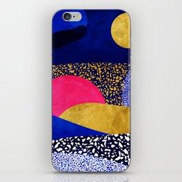 Terrazzo galaxy blue night yellow gold pink iPhone Skin
