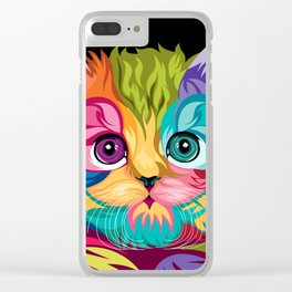CAT--COLORFUL Clear iPhone Case
