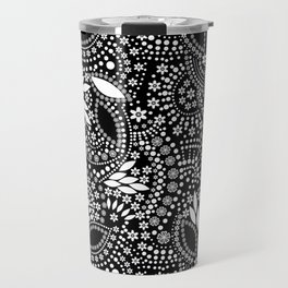 Placer of white beads on a black background . Travel Mug