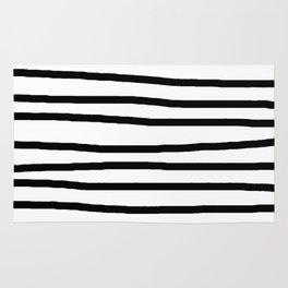 Simply Drawn Stripes in Midnight Black Rug