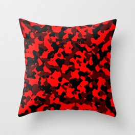 Camouflage Black and Red Throw Pillow