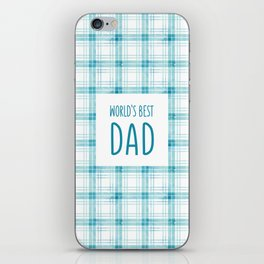 Turquoise blue watercolor check iPhone Skin