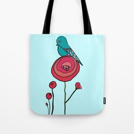 Bird and Poppy Tote Bag