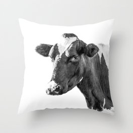 Cow Photography Animal Art | Minimalism black and white | black-and-white | Peek-a-boo Throw Pillow
