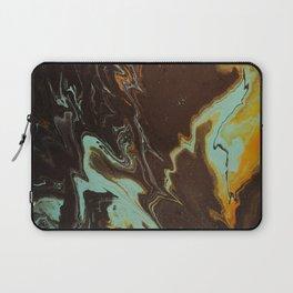 Fluid Art Acrylic Painting, Pour 3 - Black, Orange & Turquoise Blended Color Laptop Sleeve