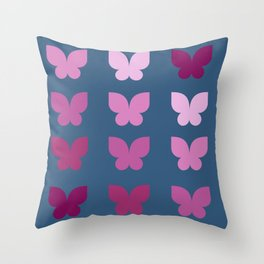 Butterflies in Purple Ombre with Dark Blue Background Throw Pillow