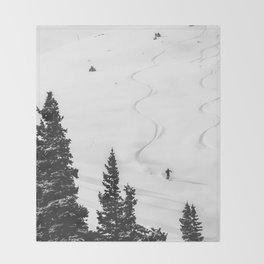 Backcountry Skier // Fresh Powder Snow Mountain Ski Landscape Black and White Photography Vibes Throw Blanket