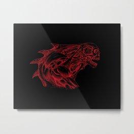 Skull creature (red line) Metal Print