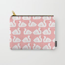 Swan minimal pattern print pink and white bird illustration swans nursery decor Carry-All Pouch