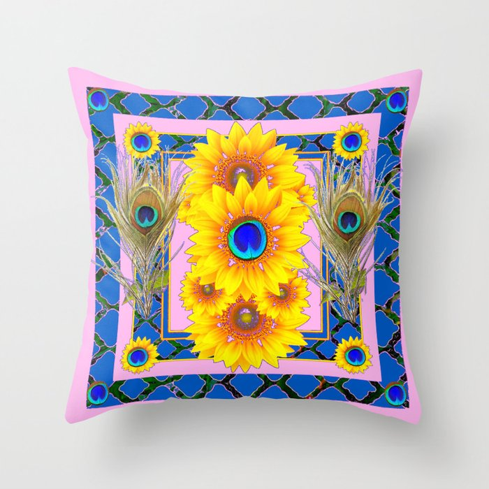 PINKBLUE PEACOCK SUNFLOWERS DECO JEWELED Throw Pillow By Sharlesart Fascinating Jeweled Decorative Pillows