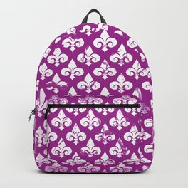 Vintage abstract pink purple white fleur de lis pattern Backpack