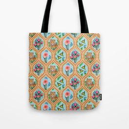 Tiger , protea, hibiscus, palm ogee pattern in watercolor Tote Bag