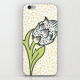 Vintage flower bud iPhone Skin