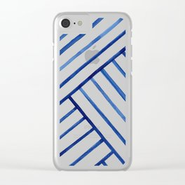 Watercolor lines pattern | Navy blue Clear iPhone Case