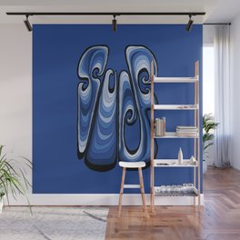 Surf Typography - Deep Blue Wall Mural