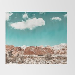 Vintage Red Rocks // Snow in the Mojave Desert Clouds Teal Sky Mountain Range Landscape Throw Blanket