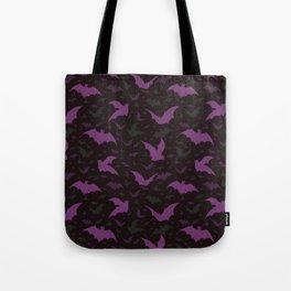 Flying Purple Halloween Bats Vector Pattern Tote Bag