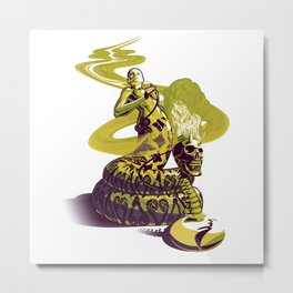 SnakeWoman and Demon-Skull Bong Metal Print