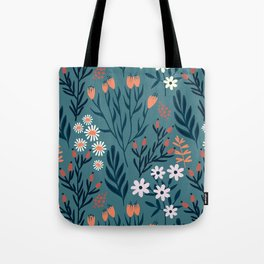 Beautiful Springtime Garden Daisy And Tulip Pattern Tote Bag