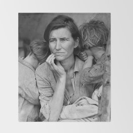 Migrant Mother by Dorothea Lange - The Great Depression Photo Throw Blanket