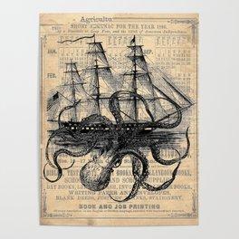 Octopus Kraken attacking Ship Antique Almanac Paper Poster