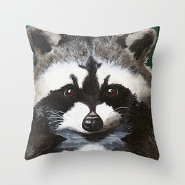 Raccoon - Charley - by LiliFlore Throw Pillow