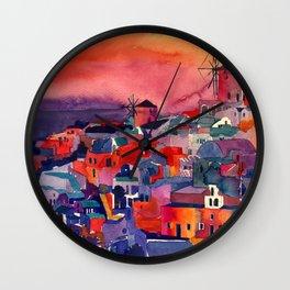 Sunset on Santorini Wall Clock