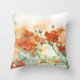 Orange Rose Flower Photography, Red Orange Roses, Burnt Orange Flowers Throw Pillow