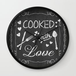 Cooked with Love Retro Chalkboard Sign Wall Clock