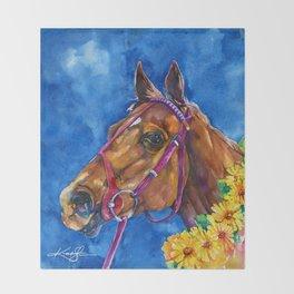 Secretariat Painting, Large Race Horse Watercolor Art Throw Blanket