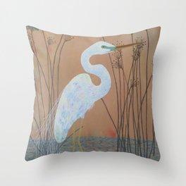 Unicorn Egret Throw Pillow