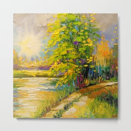 At sunset by the river Metal Print