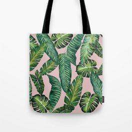 Jungle Leaves, Banana, Monstera II Pink #society6 Tote Bag