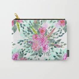 Watercolor Dahlia Bouquet Carry-All Pouch