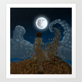 The moon and Leaves Art Print