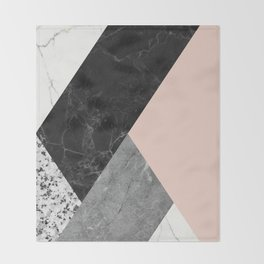 Black and White Marbles and Pantone Pale Dogwood Color Throw Blanket