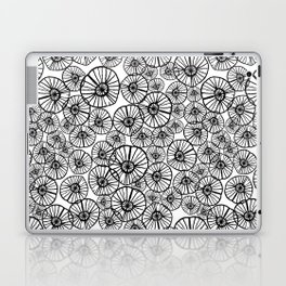 Lexi - squiggle modern black and white hand drawn pattern design pinwheels natural organic form abst Laptop & iPad Skin