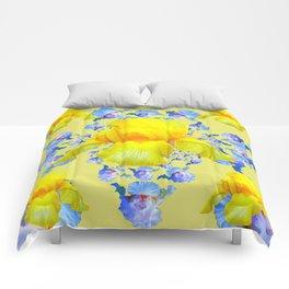 YELLOW & BLUE-WHITE IRIS BLACK ABSTRACT PATTERN Comforters