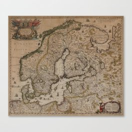 Hondius 1600-talets mitt , 1700-tal. Karta över Skandinavien. Handkolorera Canvas Print