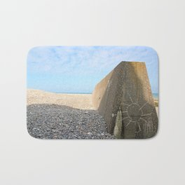 A sun on concrete. Beach of Sainte Marguerite sur mer (Bay of Somme France) Bath Mat