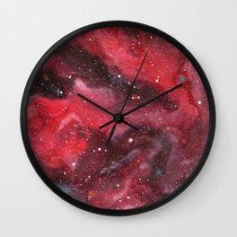 """Red Nebula"" galaxy watercolor painting Wall Clock"
