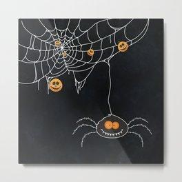 Halloween Spider on Web Metal Print