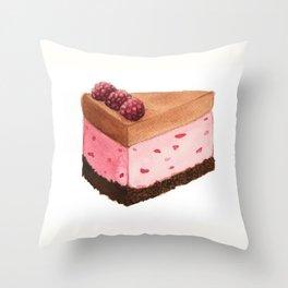 Raspberry Ice Cream Cake Slice Throw Pillow