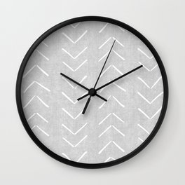 Mudcloth Big Arrows in Grey Wall Clock