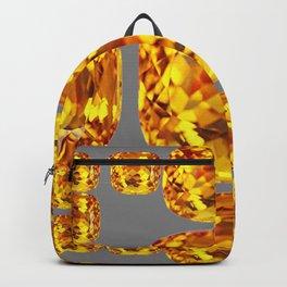 NOVEMBER GOLDEN TOPAZ FACETED GEMS GREY ART Backpack